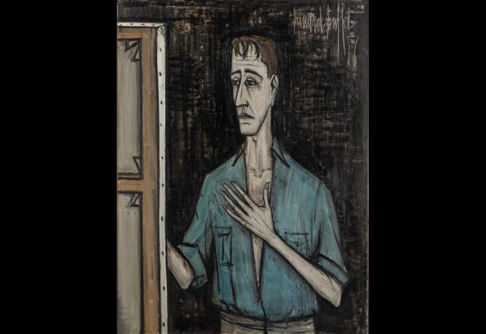 Autoportrait sur fond noir, Bernard Buffet, 1956 huile sur toile 129,3 x 96,8 cm Collection Pierre Bergé © Dominique Cohas © ADAGP, Paris 2016